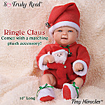 Tiny Miracles Ringle Claus Miniature Lifelike Baby Boy Doll In Santa Outfit