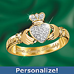 Love, Loyalty And Friendship Personalized Diamond Irish Claddagh Ring: Irish Jewelry Gift