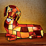 Dachshund Sculptural Louis Comfort Tiffany Style Lamp: Unique Dachshund Lover Home Decor Lamp