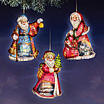 Thomas Kinkade Season Of Light Santa Christmas Ornaments: Set Of 3