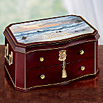 Footprints In The Sand Musical Wooden Jewelry Box