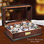 Thomas Kinkade Holiday Lights Animated Holiday Village Wooden Music Box
