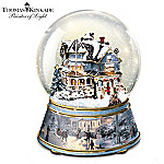 Thomas Kinkade White Christmas Musical Collectible Snow Globe