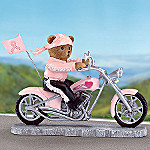 Headed For A Cure Breast Cancer Teddy Bear Biker Figurine