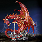 Fantasy Red Dragon With Excalibur Sword Figurine