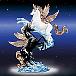 Collectible Black And White Unicorn Fantasy Figurine: Two Hearts In Harmony