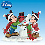 Snow Much Fun Together Disney Mickey And Minnie Mouse With Snowman Collectible Figurine