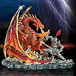 Medieval Knight And Red Dragon Figurine: The Might Of The Sword