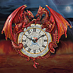 Ancient Keepers Of Time Collectible Red Dragon Wall Clock