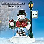 Thomas Kinkade Snow Place Like Home For The Holidays Snowman Water Globe