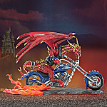 Burnin' Rubber Collectible Red Dragon And Motorcycle Figurine
