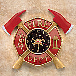 Courage Under Fire Collectible Firefighter Clock With Maltese Cross: Fireman Gift
