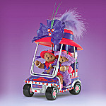 Faithful Fuzzies Glamour Cart Teddy Bears with Red Hats Figurine Collection