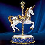 Sapphire Prancer Jeweled Unicorn Carousel Figurine