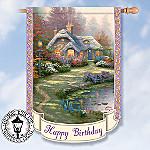 Thomas Kinkade Happy Birthday Flag