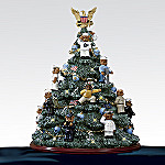 US Navy Teddy Bear Illuminated Artificial Tabletop Christmas Tree Figurine