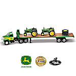 1:64 John Deere Semi Hauler And Model B Tractor Diecast Replica Set