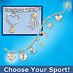 You Are My Pride & Joy Heart Shaped Sports Charm Bracelet With Swarovski Crystal