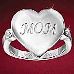 Mom I Love You Heart-Shaped Sterling Silver Diamond Ring