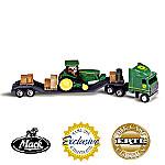 1:64 John Deere 8310T Tractor And Mack Truck Diecast