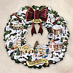 Norman Rockwell Christmas Village Illuminated Wreath
