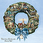 Thomas Kinkade Seaside Village Lighthouse Wreath
