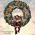 Thomas Kinkade Decorative Lighted Nativity Scene Wreath