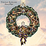 Thomas Kinkade Testament To Faith Lighted Wreath: The Passion Of The Christ Religious Art Wreath