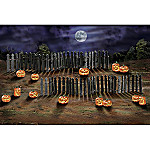 Rickety Fence And Spooky Jack o' Lantern Halloween Village Accessory Set