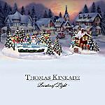 Thomas Kinkade Skating Away The Day Village Accessory Figurine Set