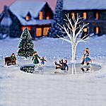 Skating Pond Memories Village Accessory Set