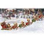 Santa and Sleigh Figurine Village Accessory: Dash Away, Dash Away All