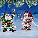 Jolly Jeweled Santa Claus Ornaments