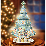 Dona Gelsinger Heavenly Holiday Helpers Illuminated Rotating Tabletop Christmas Tree