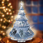 Spirit Of The Wilderness Wolf Art Rotating Porcelain Christmas Tree