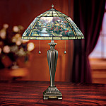 Thomas Kinkade Lamplight Bridge Unique Stained Glass Table Lamp