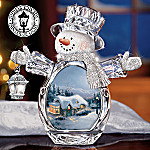 Thomas Kinkade Crystal Celebrations Christmas Snowman Figurine Gift
