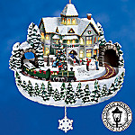 Thomas Kinkade Victorian Christmas Crossing Animated Christmas Tree Ornament