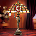 Courage Under Fire Firefighter Stained Glass Table Lamp