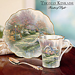 Thomas Kinkade Daybreak Cottage Porcelain Teacup And Saucer Set