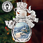 Thomas Kinkade Holiday Memories Crystal Snowman Ornament