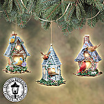 Thomas Kinkade Peaceful Retreats Birdhouse Christmas Tree Ornaments: Set One