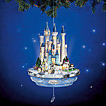 Collectible Disney Cinderella's Castle Illuminated Animated Christmas Ornament