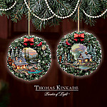 Thomas Kinkade Peaceful Retreats Illuminated Ornament Collection: Set One