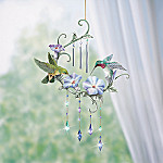 Ruby-Throated Hummingbird Windsong Indoor Chime With Floral Art: Spring Decoration