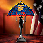 USMC Stained Glass Table Lamp: Patriotic Home Decor