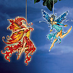 Amy Brown Fire Dance And Water Spirit Fairy Ornaments