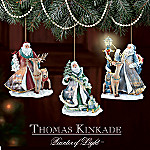 Thomas Kinkade Spirit of Christmas Old World Santa Ornament Set One