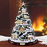 Norman Rockwell Village Christmas Illuminated Artificial Tabletop Christmas Tree