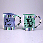 Mr. Right & Mrs. Always Right Wedding And Anniversary Coffee Mug Gift Set